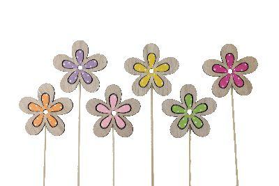 Holzstecker Colora BUNT 18262 8x8cm L:31cm Blume am Pick