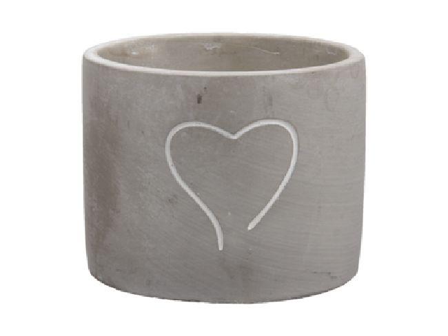 Topf Heartbeat GRAU  358042 Ø13x10,5cm Zement