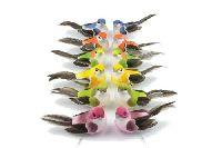 Vogel Berta bunt gemischt 80101 90Styropor 8x4x3,5cm mit 20cm Draht Feder