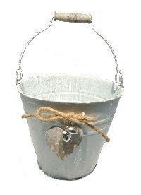 Metalleimer mit Herz GRAU-WASHED 56827016 Øoben16 x H14 x Øunten10,5cm