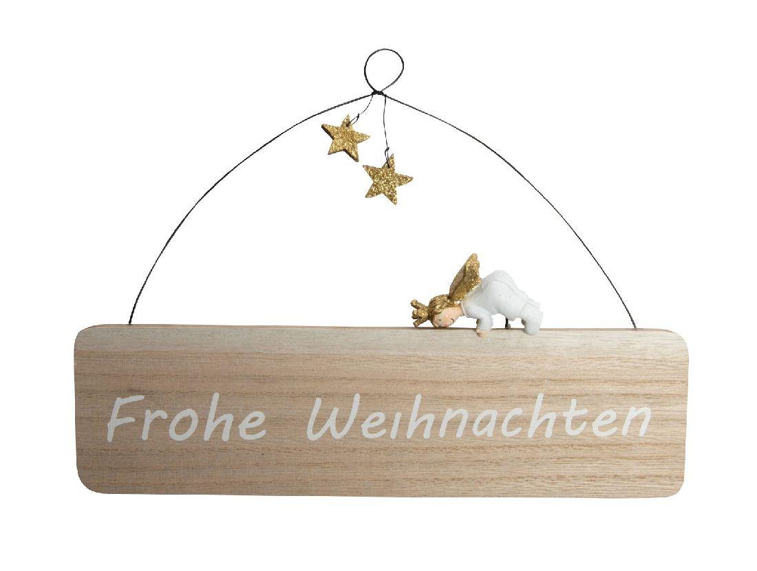 Schild Frohe Weihnachten NATUR-GOLD-WEISS  31hoi01 25x16,5cm Holzschild Engel