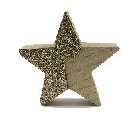 Stern Glamour X-MAS NATUR-GOLD 43171 12x2,5cm Holz zum Stellen
