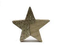 Stern Glamour X-MAS NATUR-GOLD 43172 15,5x2,5cm Holz zum Stellen