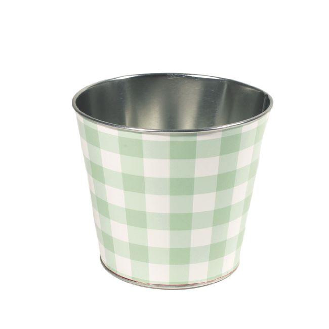 Zinktopf Fotodruck Sommer-Karo-Mix grün Ø12,9cm H10,7cm 40 465