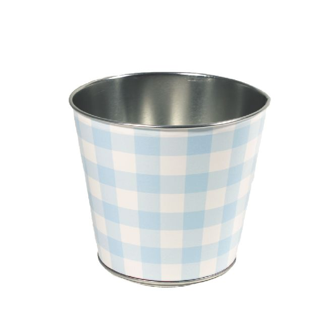 Zinktopf Fotodruck Sommer-Karo-Mix blau Ø12,9cm H10,7cm 40 460