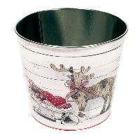 Zinktopf Fotodruck Rentier Vintage natur-weiß-rot Ø16,5cm H14cm  40 554