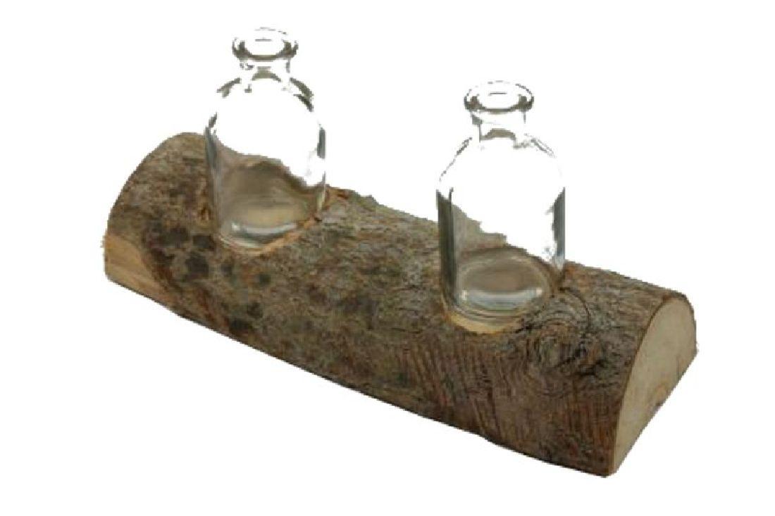 Baumstamm mit Flaschenvase NATUR 22503656 mit 2 Flaschen 26x9,5x10,5cm (LxBxH)
