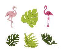 Streusortiment Summertime PINK-GRUEN 19138 Filz ca.4cm Flamingo + Blätter