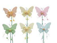 Schmetterlingstecker mit Knopf PASTELL 340895 8,5x7cm Holz