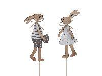 Hasenpaar Osterliebe NATUR 355576 Mann+Frau Stecker 11,5cm 2erSortierung