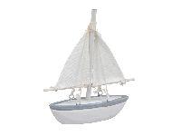 Segelboot WEISS-BLAU 355666 10x11cm Holz