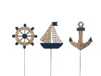 Dekosortiment Maritim BLAU-NATUR Anker Segelboot Rad Stecker 8,5-10cm Holz 355692