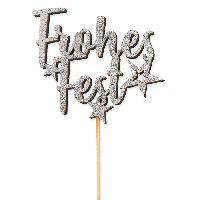 Stecker Frohes Fest SILBER-GLITTER  22852 8x6,5cm+24cmStiel  Stärke:5mm