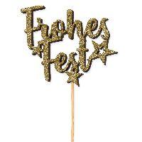Stecker Frohes Fest GOLD-GLITTER 22852 8x6,5cm+24cmStiel  Stärke:5mm