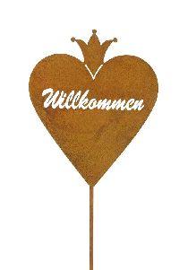 Roststecker Herz Willkommen ROST 480897  mit Krone GL:117cm Herz=20x25cm
