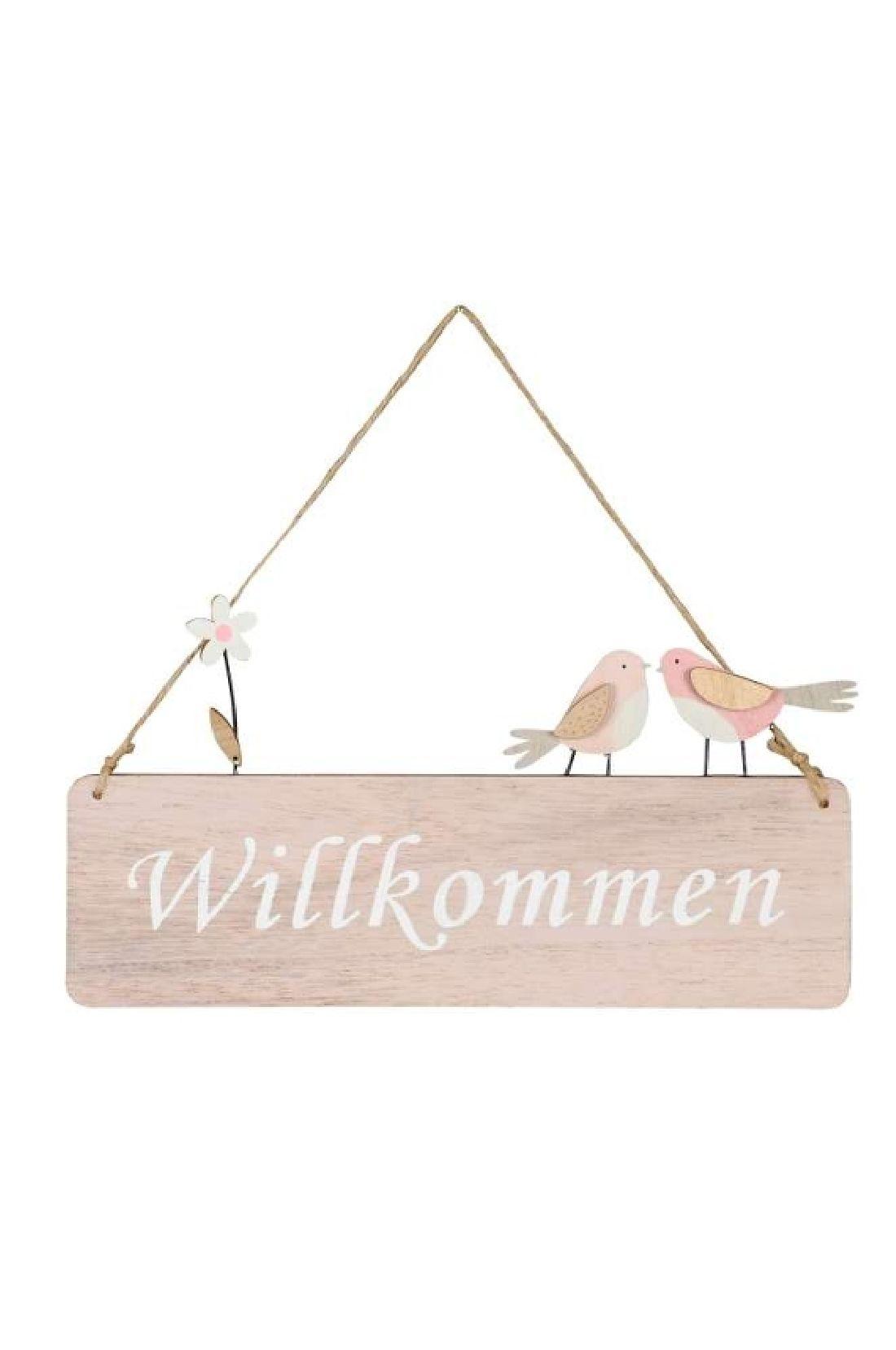 Holzschild Willkommen pastellrosa mit weißer Schrift 27xH14/28cm 521618