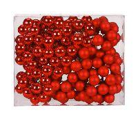 Spiegelbeeren / Glaskugeln 12002 rot glanz/matt 25mm Draht Spiegelbeeren