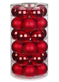 Glaskugel / Christbaumkugel 12002 rot glanz / matt 60mm 30Stück