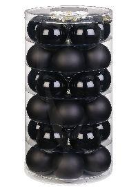 Glaskugel / Christbaumkugel 12115 schwarz matt / opal 60mm 30Stück