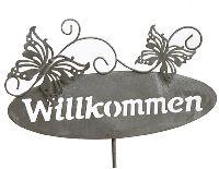 Gartenstecker Willkommen grau Metall 70372 Schmetterlin 25x15cm  Gesamtlänge=110cm