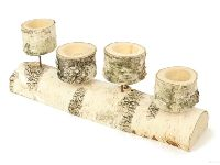 Teelichthalter Birke NATUR 351900064 38x7x14cm für 4 Teelichte