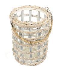 Windlicht Flechtoptik mit Glas WASHED 861802119 Ø17cm H21cm zzgl. Henkel
