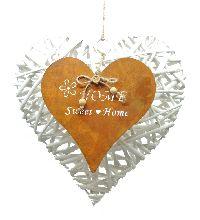 Dekoherz Heimat WEISS-ROST CK Weide+Rost 30cm Rostherz Home Sweet Home