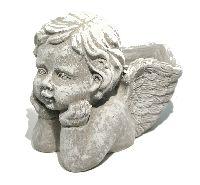 Engel zum Bepflanzen GRAU 53562017 Zement 18x13x12cm  Pflanzengel