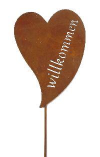 Roststecker Herz ROST 19647 Metall Willkommen 24x34x120cm