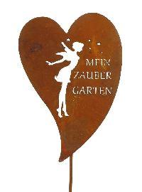 Roststecker Herz ROST 19650 Metall Elfe Zaubergarten 24x34x120cm