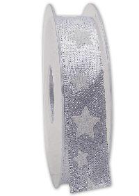 Band Sternenschimmer SILBER-WEISS Weihnachtsband B:25mm L:20Meter 221 05/01