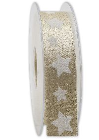 Band Sternenschimmer GOLD-WEISS Weihnachtsband B:25mm L:20Meter 221 15/01