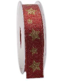 Band Sternenschimmer ROT-GOLD Weihnachtsband B:25mm L:20Meter 221 20/15