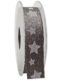 Band Sternenschimmer GRAUBRAUN-WEISS Weihnachtsband B:25mm L:20Meter 221 72/01