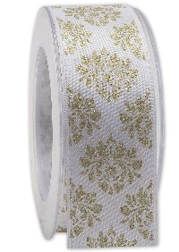 Band X-MAS DELUXE WEISS-GOLD Weihnachtsband B:40mm L:20Meter 224 01