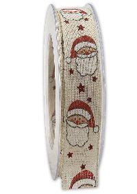 Band Nikolaus mit Draht Creme-Rot 231 Weihnachtsband B:25mm L:20Meter