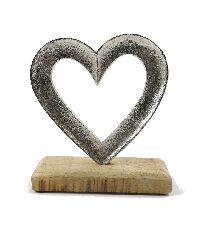 Dekoobjekt Herz silber 76254 Metall/Holz 15x5x17cm
