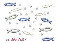 Streudeko / Tischdeko CK Fische + glitzernde Raindrops Kommunion ca. 300-teilig