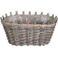 Pflanzkorb Sticks NATUR-GRAU-WASHED 115162 oval 35x25x16cm (LxBxH)