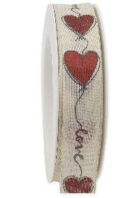 Herzband Liebeserklärung rot-creme 307 21 26 B:25mm L:20m mit Draht