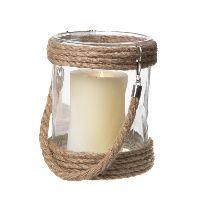 Windlichtglas mit Tau KLAR  73824 Glas Ø13xH17cm + Henkel