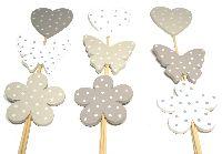 Steckersortiment Pünktchen CREME-WEISS-GRAU 5-6cm L:27cm Herz Schmetterling Blume 20150