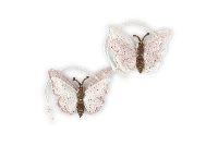 Schmetterling Eleganza ROSA-CREME-GLITZER 20761270 Hänger 5cm Polyest.zweilagig
