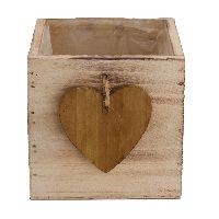 Schublade mit Herz natur-Vintage 37587 10x10x10cm Holz mit Folie