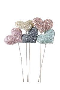 Herzkissen Glitter rosa-creme-mint-grau-apricot Stecker 5,5cm GL:28cm 20761346