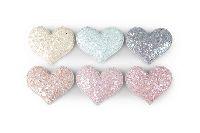 Herzkissen Glitter rosa-creme-mint-grau-apricot 5,5cm 5-farbig Stoff 20422308