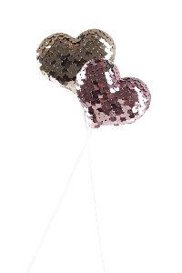 Herzstecker Pailletten ROSA-ROSEGOLD-GLIMMER 6cm GL:27,5cm 20761349