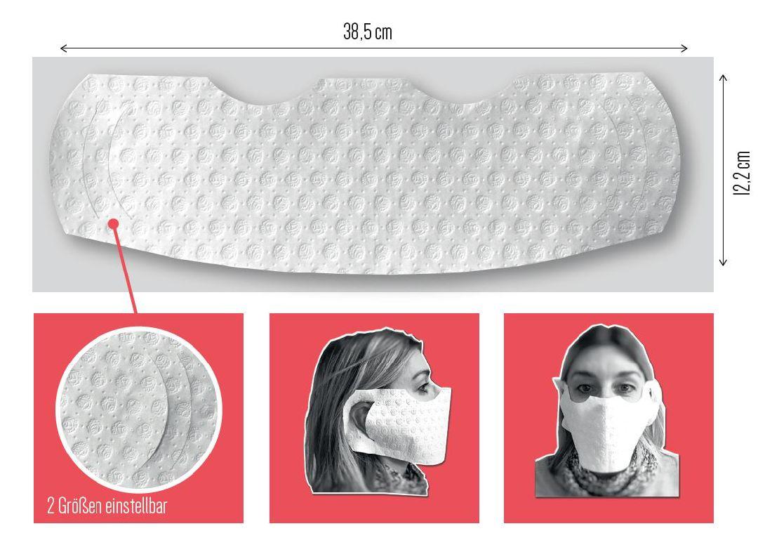 Hygienische-Einweg-Mundmaske WEISS Made in Germany 39cm x 12cm