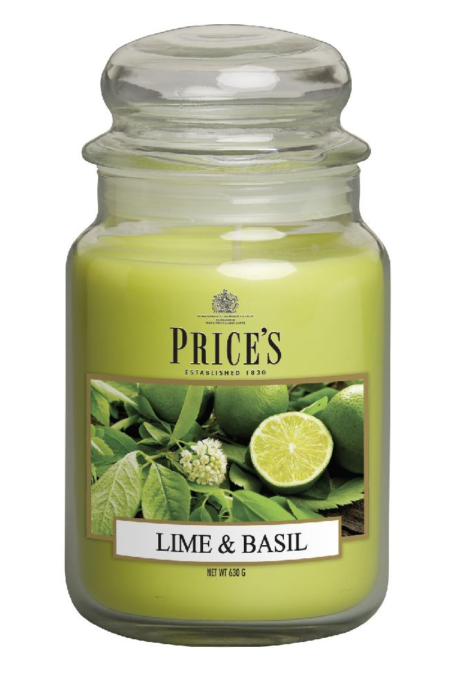 Duftkerze Price´s Candles LIME BASIL im Glas Brenndauer: 110-150 h