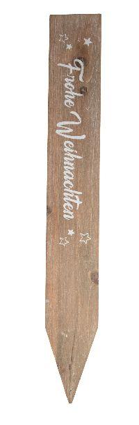 Stele Frohe Weihnachten BRAUN-WEISS Holz 31khb04 90x10cm Schwarte z. Stecken
